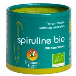 Spiruline, Ecocert, Flamant vert, 250g net 500cp de 500 mg