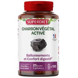 Charbon Végétal Activé 150 gélules Super Diet
