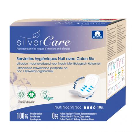 Serviettes nuit 100% coton bio Ultra minces avec ailettes 10 unités Silvercare bio santé senior