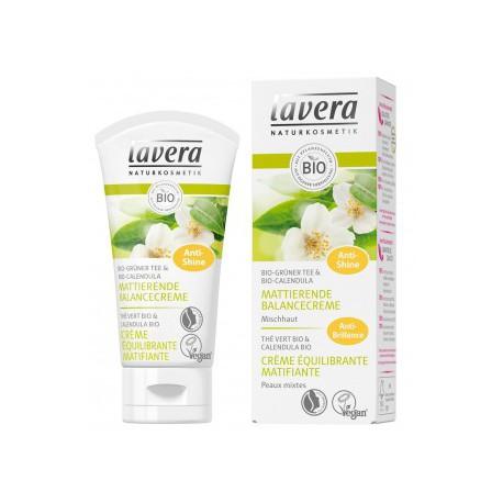 Crème équilibrante matifiante Thé vert bio 30ml Lavera, peaux grasses et peaux mixtes