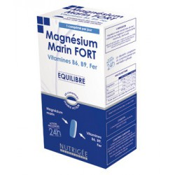 Magnesium Marin Fort, Vitamines B6, B9, Fer 60 comprimes bi couche Nutrigee