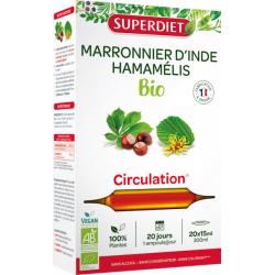 Marronnier d'Inde Hamamélis Bio 20 ampoules de 15ml Super Diet