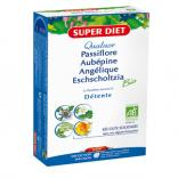 Quatuor Angélique Passiflore Escholtzia Aubépine 20 ampoules de 15ml Super Diet