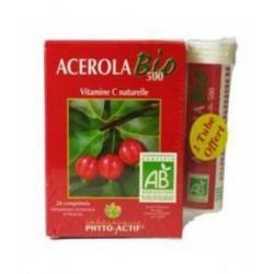 Acérola Bio 500 24 comprimés 500mg Lot de 2 Tubes + 1 Offert Phyto-actif