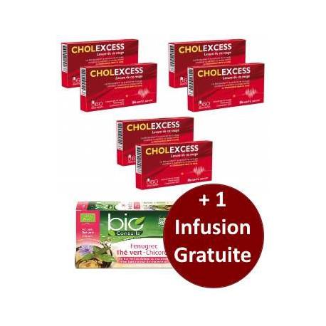 Cholexcess 3 lots de 2 boîtes de 60 capsules + 1 infusion Bio Conseils gratuite