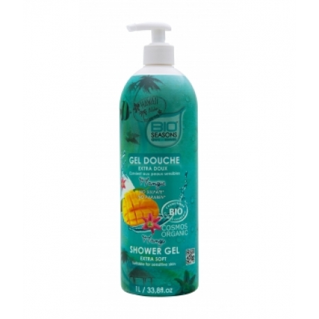 Gel douche Mangue format familial  1 litre - Bio Seasons