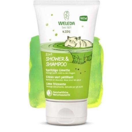 Crème de douche 2 en 1 corps et cheveux enfant citron vert pétillant 150 ml - Weleda