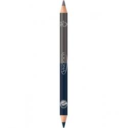 Crayon à paupières bois duo n°4 Steel Grey 1.38 g - Logona