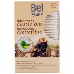 200 Bâtonnets oreille boîte distributrice coton bio 200 unités Bel Nature