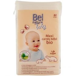 60 maxi carrés bébé coton bio 60 unités Bel Nature