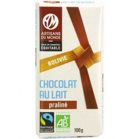 Chocolat au lait bio praliné 100 g Artisans du Monde