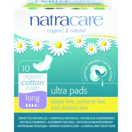 Serviettes Ultra Pads longues à ailettes Lot de 10 Natracare