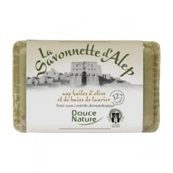 Savonnette dAlep 12% dhuile de baies de Laurier 100g Douce Nature - produit d'hygiène corporelle
