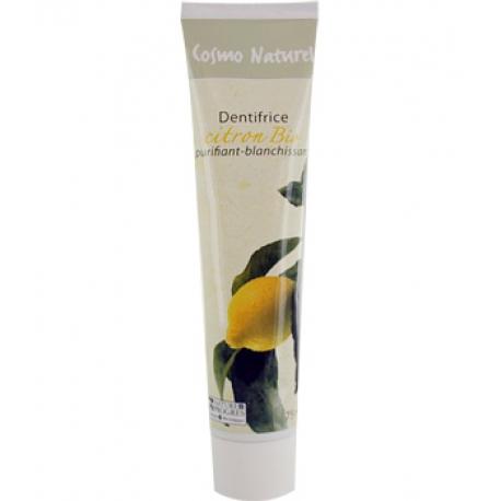 Dentifrice Citron blanchissant 75 ml Cosmo Naturel - Gravier - produit d'hygiène pour les dents