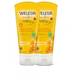 Duo crème lavante corps et cheveux Calendula bébé 2 x 200 ml Weleda - produit d'hygiène pour le corps