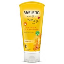 Crème lavante corps et cheveux Calendula bébé 200 ml Weleda - soin pour les cheveux et le corps de bébé