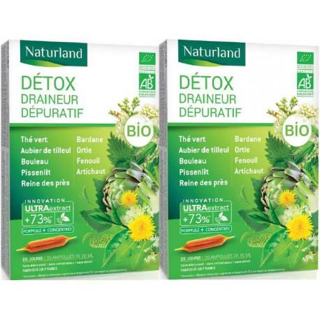 Naturland - Lot de 2 boîtes Detox Bio (association de 11 plantes) - 2 X 20 ampoules Phytonature Bio santé senior