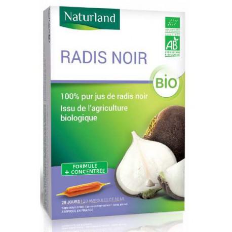 Radis noir en ampoules bio, pur jus, Naturland, biosantesenior.fr