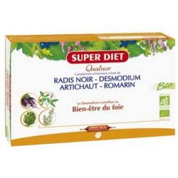 Quatuor Desmodium Radis Noir Romarin Artichaut 20 Ampoules Super Diet