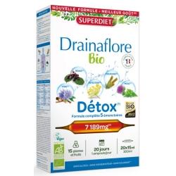 Drainaflore Bio Cure dépurative 20 ampoules de 15ml soit 300 ml Super Diet, draineur Bio Bio sante senior