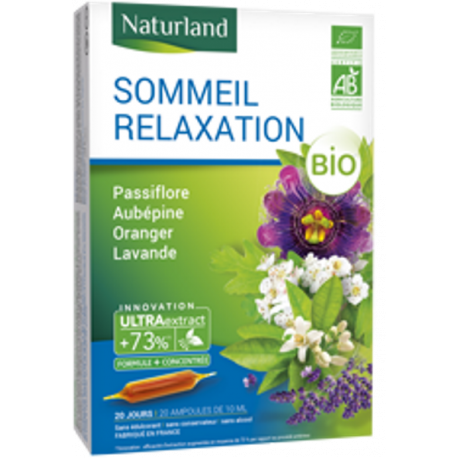 Sommeil relaxation Passiflore, aubepine, oranger BIO ampoule naturland, détente relaxation ampoules,biosantesenior.fr
