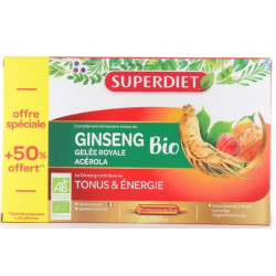 Ginseng Acérola Gelée Royale Bio 20 ampoules +50% gratuit Super Diet