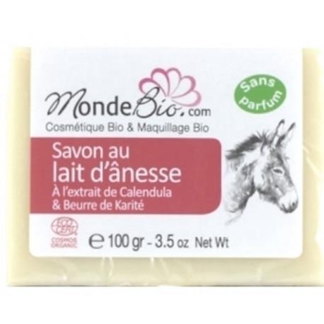 savon 40 % lait d'ânesse bio karite et extrait de calendula 100 gr Le Monde du bio savon peaux réactives et sensibles