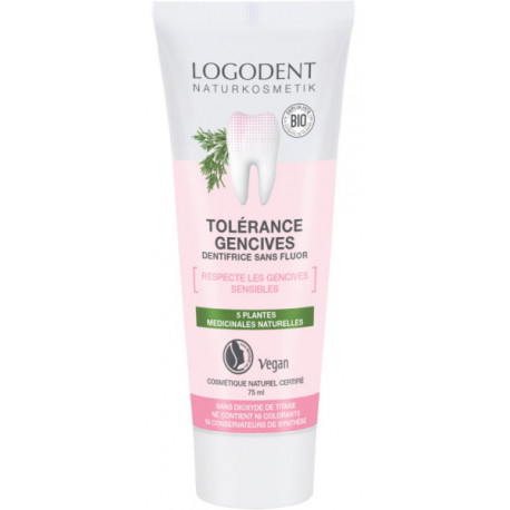 Dentifrice Tolérance Gencives sensibles 5 plantes médicinales 75 ml Logona