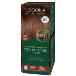 coloration végétale Ton sur Ton en poudre 091 Chocolat chaud 100 gr Logona soin colorant bio sante senior
