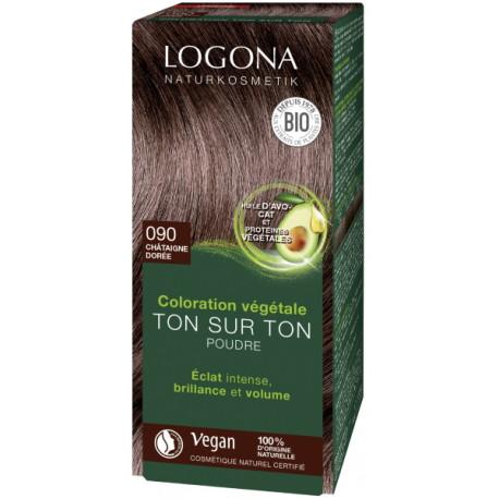 coloration végétale ton sur ton 090 en poudre Chataîgne dorée 100 gr Logona