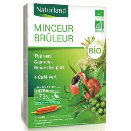 Naturland Minceur brûleur de graisses Thé vert, naturland, café vert, guarana, reine des prés BIO 20 ampoules,biosantesenior.fr