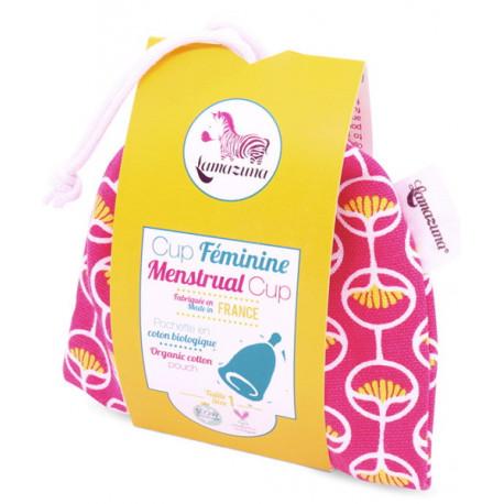 Cup féminine Taille 1 pochette coton bio rose Lamazuna protection hygiénique réutilisable Bio sante senior