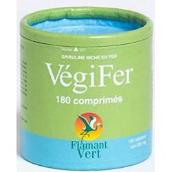 Vegifer Spiruline Fer 180 comprimés de 500mg Flamant Vert tonus vitalité Bio sante senior