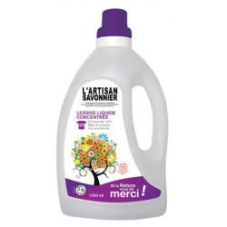 Lessive liquide concentrée 1.5L L Artisan Savonnier blanc couleurs lavage en machin et à la main bio sante senior