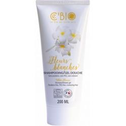 Shampooing gel douche Fleurs Blanches 200ml C'Bio peau fragile cheveux secs Bio sante senior