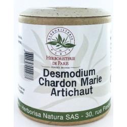 Desmodium Chardon marie Curcuma Artichaut 200 gélules Herboristerie de Paris DCCA génie hépatique bio sante senior