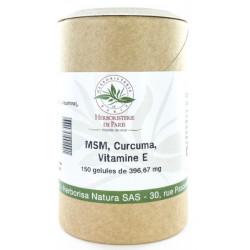 M.S.M Curcuma Vitamine E 150 gélules Herboristerie de Paris méthyl sulfonyl méthane soufre Bio sante senior