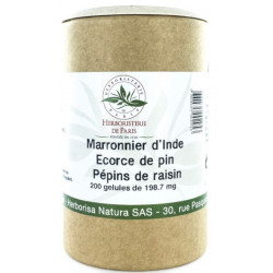 Marronnier d'Inde OPC Pin Raisin Vitamine E 200 Gélules Herboristerie de Paris protecteur circulation Bio sante senior