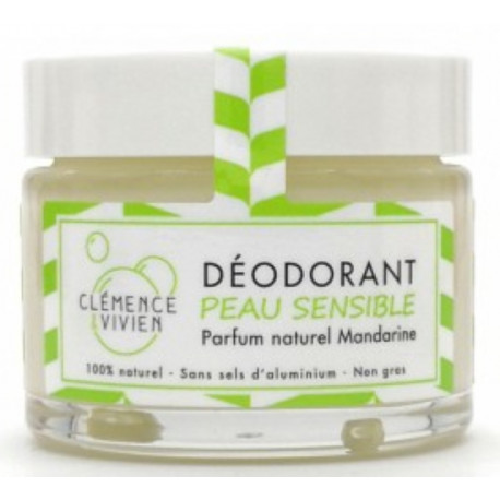 Baume déodorant Peau sensible à la Mandarine 50gr Clemence et Vivien hydroxyde de magnésium Bio sante senior