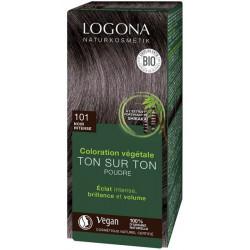 Coloration végétale Ton sur Ton Noir Intense 101 en poudre 100gr Logona soin colorant végétal Bio sante senior