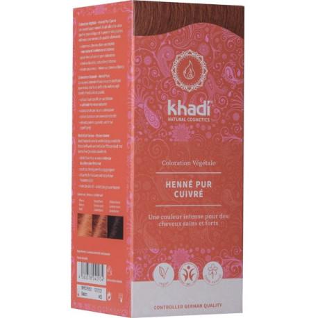 Coloration végétale Henné Pur cuivré 100 gr Khadi reflets cuivrés ou Acajou Bio sante senior