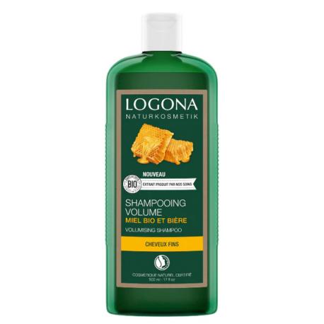Shampoing volumateur à la bière et au miel 500 ml Logona cheveux plats et raides Bio sante sénior