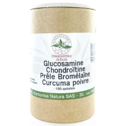 Glucosamine chondroïtine Prêle Bromélaïne Curcuma Poivre 150 Gélules Herboristerie Paris articulations Bio sante senior