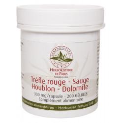 Trèfle rouge Sauge Houblon Dolomite 200 Gélules Herboristerie de Paris troubles de la ménopause Bio sante senior