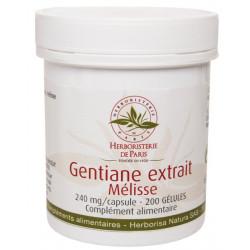 Gentiane Extrait Mélisse 200 Gélules Herboristerie de Paris mémoire concentration positivisme Bio sante senior
