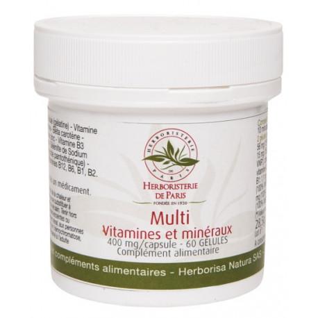 Multi Vitamines et minéraux 60 Gélules Herboristerie de Paris 19 vitamines oligo éléments et minéraux Bio sante senior