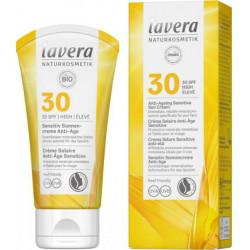 Crème solaire anti âge sensitive SPF 30 50ml Lavera protection solaire minérale Bio sante senior