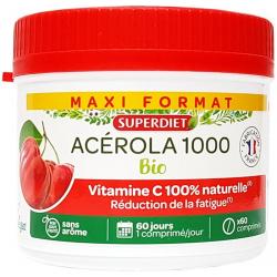 Acérola Bio 1000 Vitamine C maxi pot 60 comprimés Super Diet