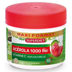 Acérola Bio 1000 Vitamine C maxi pot 60 comprimés Super Diet Bio sante senior