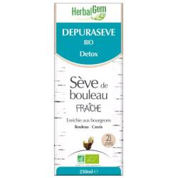Dépurasève Bio Sève de bouleau Flacon 250 m Herbalgem detox draineur dépuratif Bio sante senior
